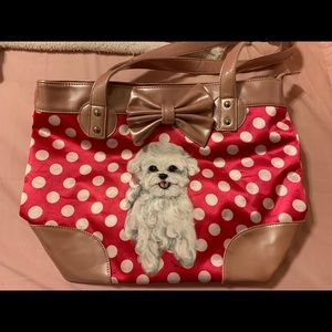 HANDPAINTED Maltese dog bag with pink polka dots
